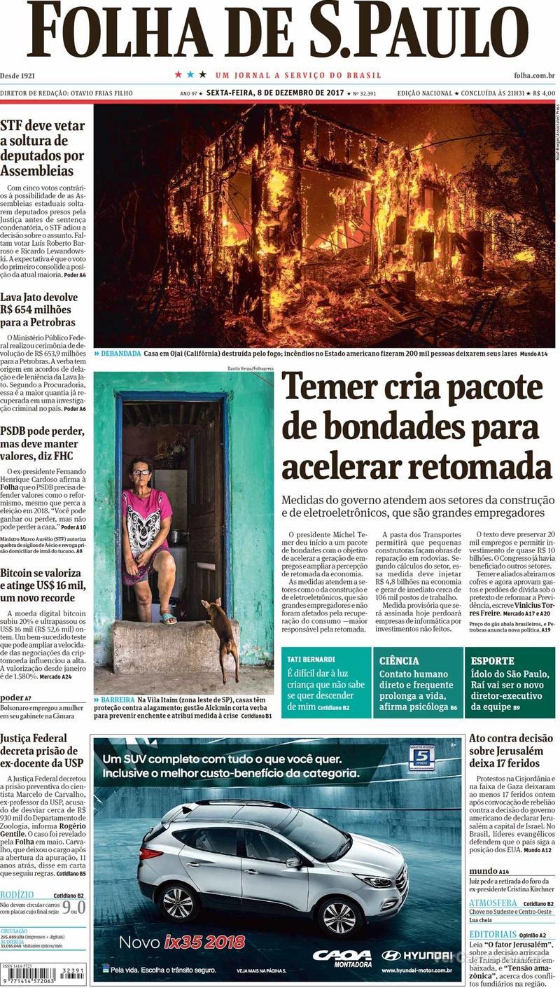 Capa do jornal Folha de S.Paulo 08/12/2017