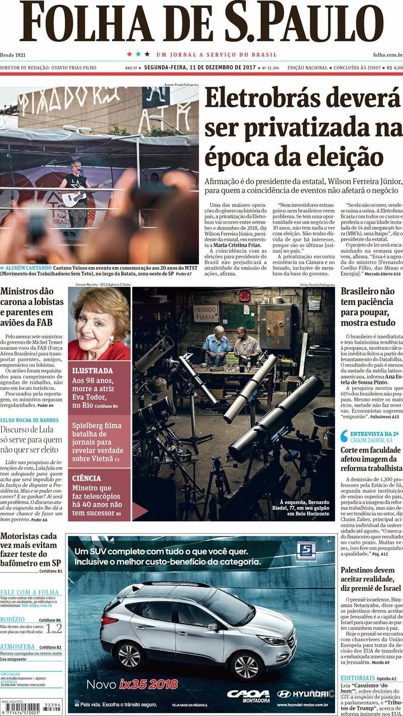 Capa do jornal Folha de S.Paulo 11/12/2017