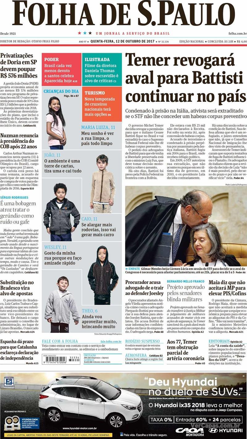 Capa do jornal Folha de S.Paulo 12/10/2017