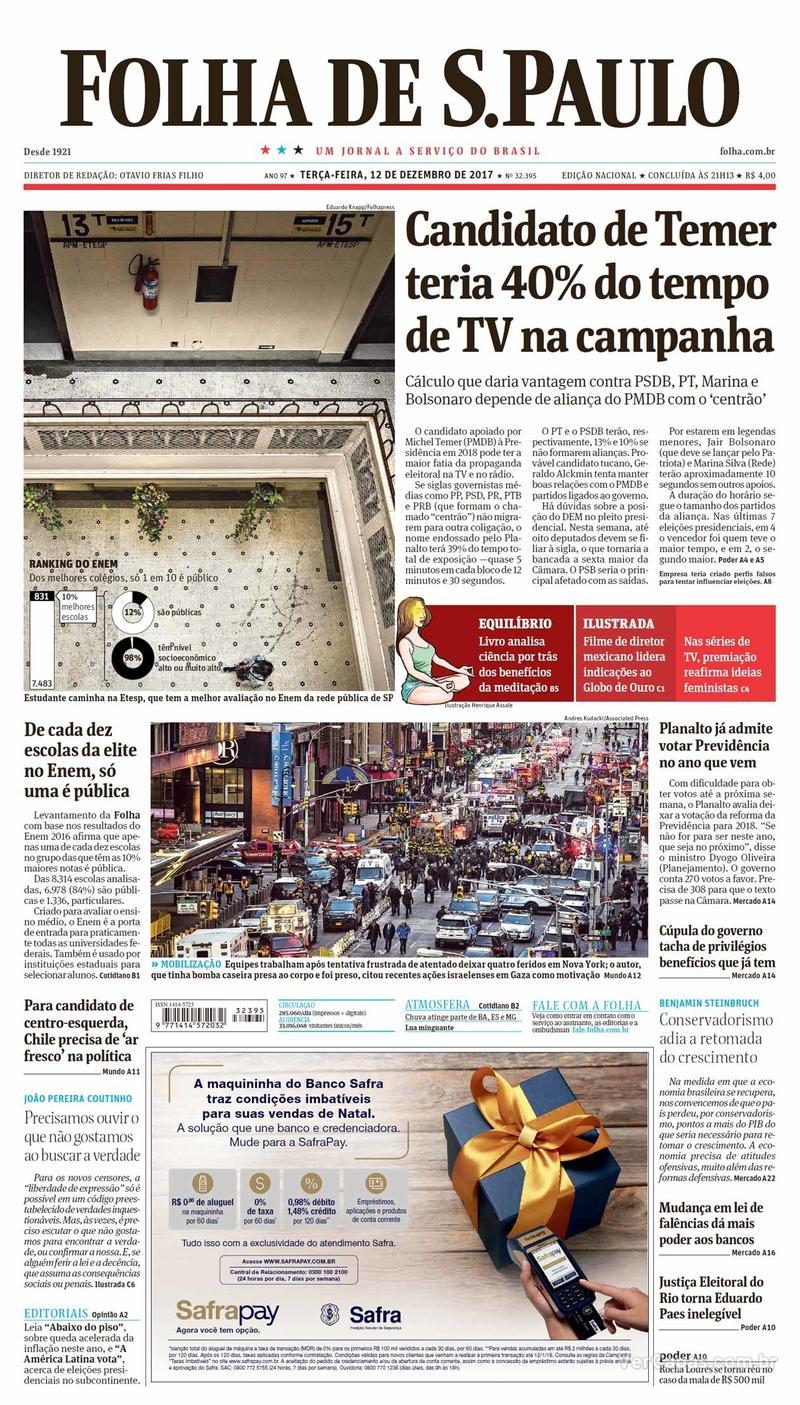 Capa do jornal Folha de S.Paulo 12/12/2017