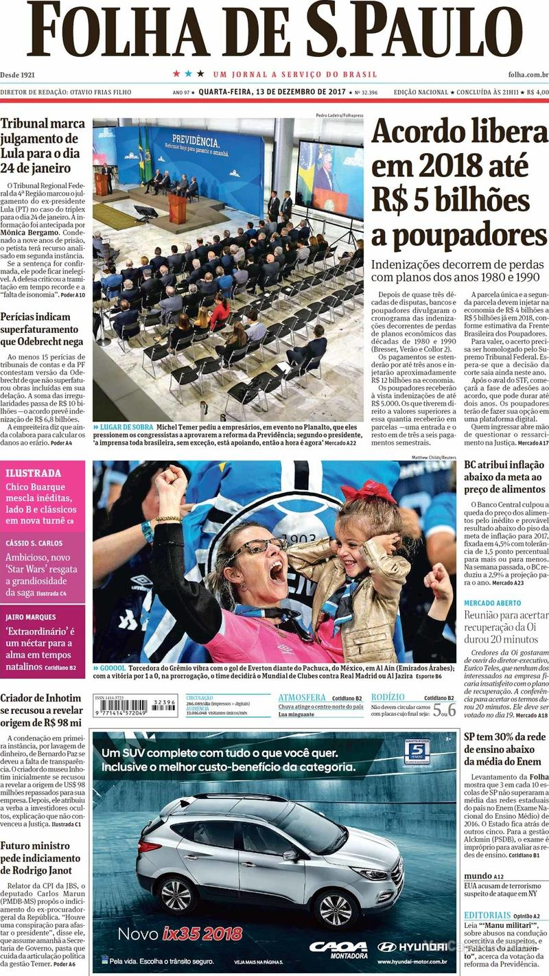 Capa do jornal Folha de S.Paulo 13/12/2017