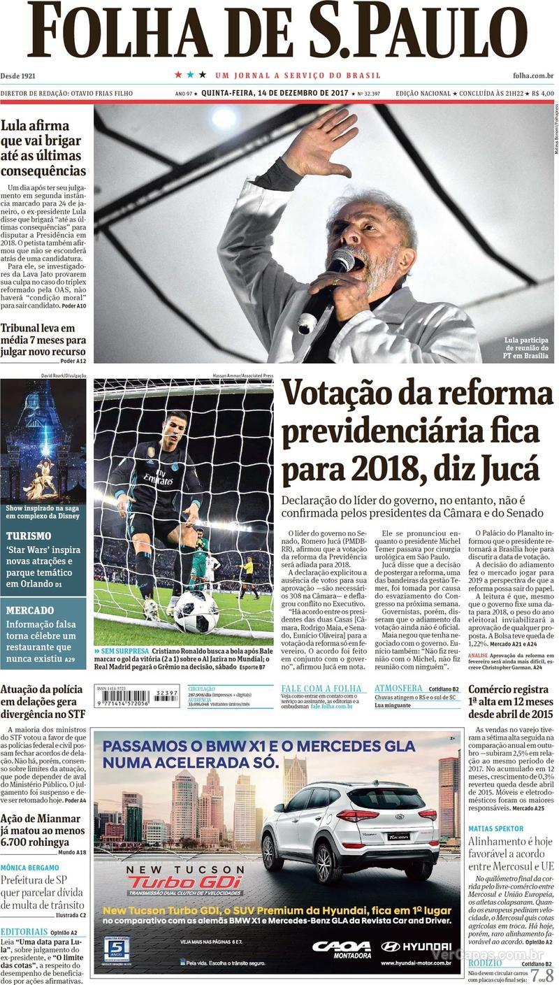 Capa do jornal Folha de S.Paulo 14/12/2017
