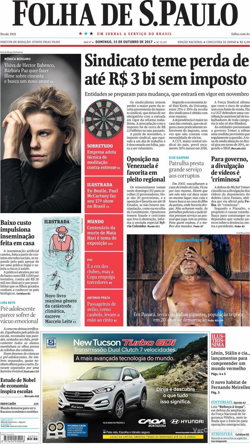 Capa do jornal Folha de S.Paulo 15/10/2017