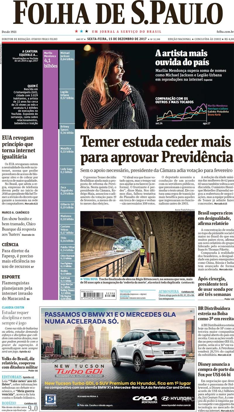 Capa do jornal Folha de S.Paulo 15/12/2017