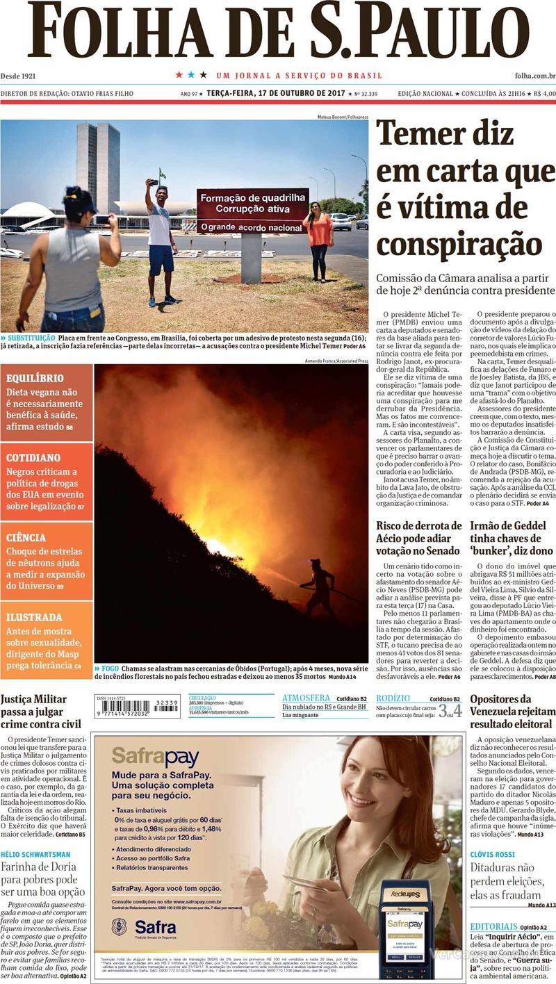 Capa do jornal Folha de S.Paulo 17/10/2017
