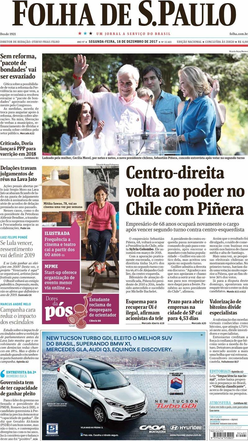 Capa do jornal Folha de S.Paulo 18/12/2017