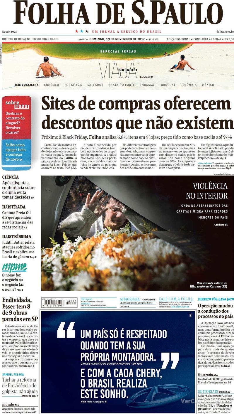 Capa do jornal Folha de S.Paulo 19/11/2017