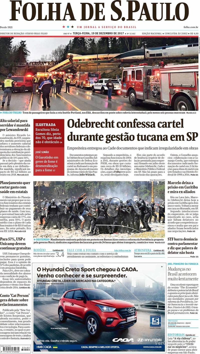 Capa do jornal Folha de S.Paulo 19/12/2017