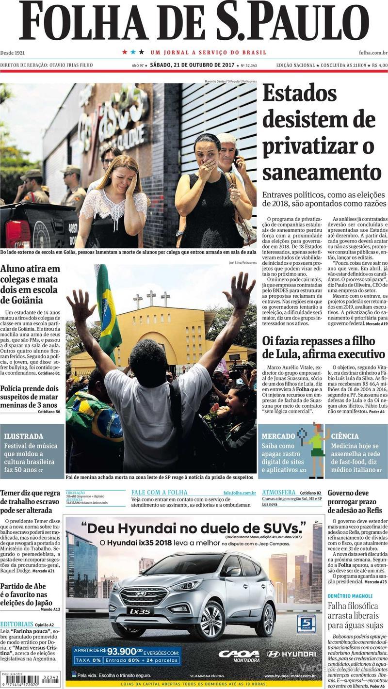 Capa do jornal Folha de S.Paulo 21/10/2017
