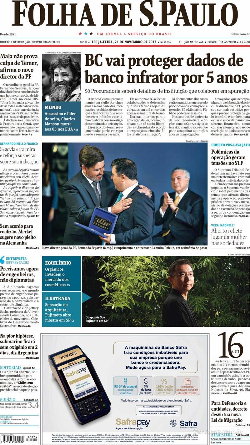 Capa do jornal Folha de S.Paulo 21/11/2017