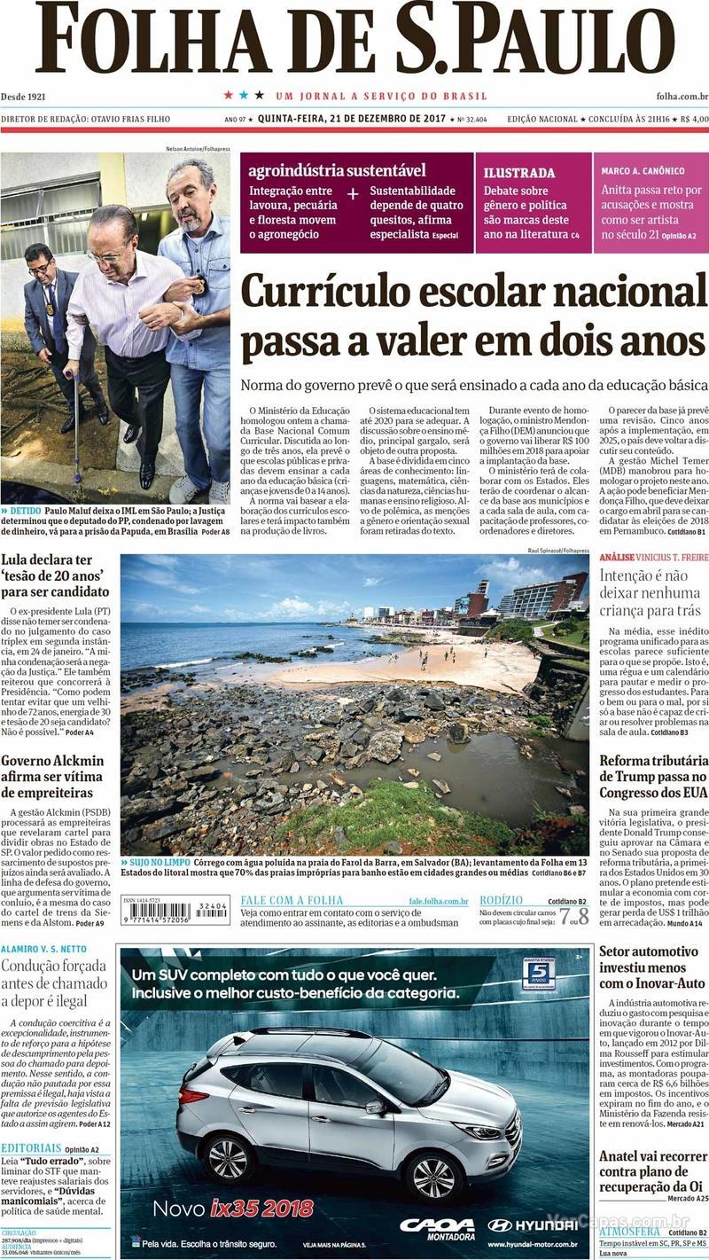 Capa do jornal Folha de S.Paulo 21/12/2017