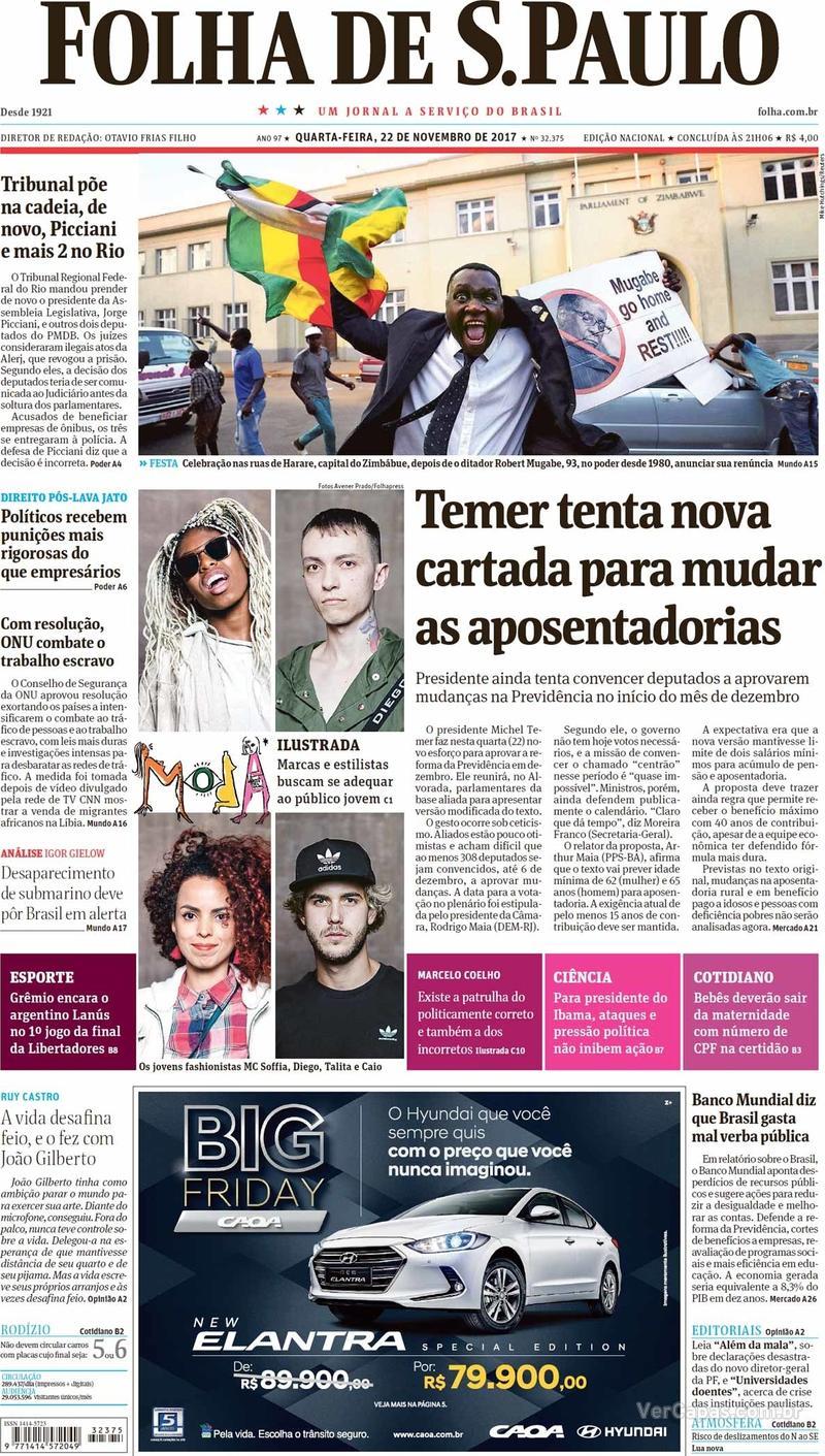 Capa do jornal Folha de S.Paulo 22/11/2017