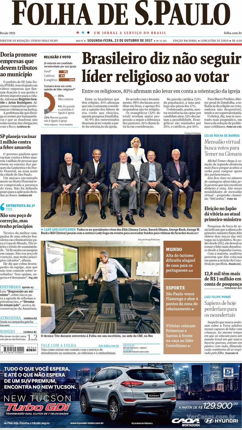 Capa do jornal Folha de S.Paulo 23/10/2017