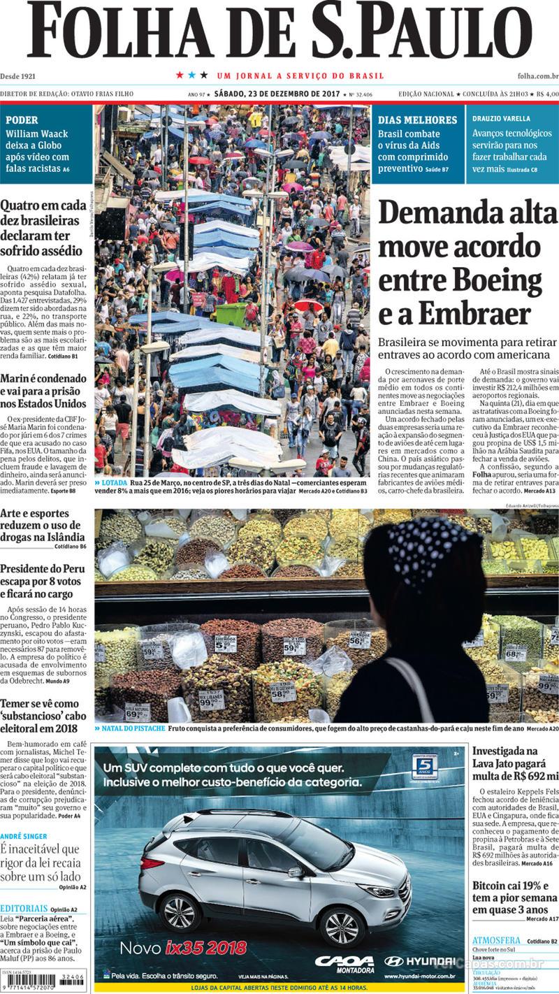 Capa do jornal Folha de S.Paulo 23/12/2017