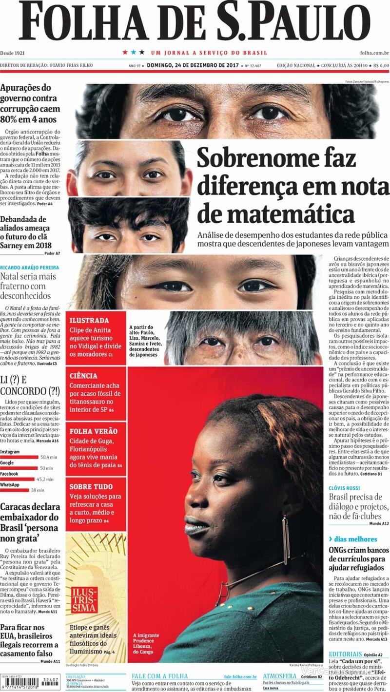 Capa do jornal Folha de S.Paulo 24/12/2017