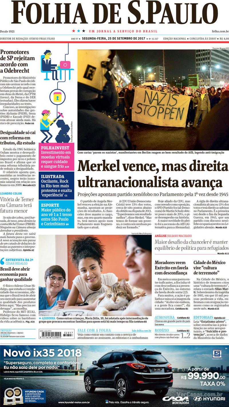 Capa do jornal Folha de S.Paulo 25/09/2017