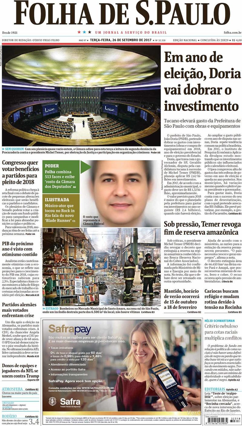 Capa do jornal Folha de S.Paulo 26/09/2017