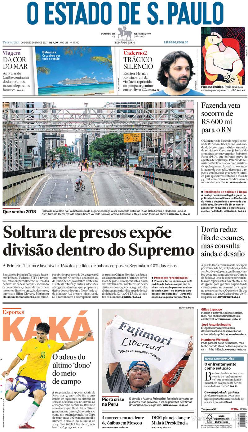 Capa do jornal Folha de S.Paulo 26/12/2017