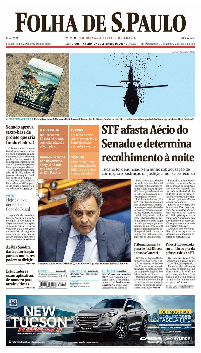 Capa do jornal Folha de S.Paulo 27/09/2017