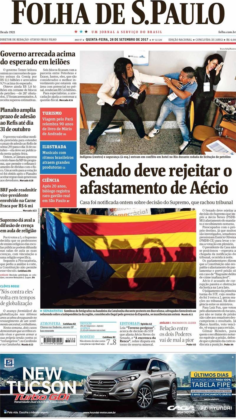 Capa do jornal Folha de S.Paulo 28/09/2017