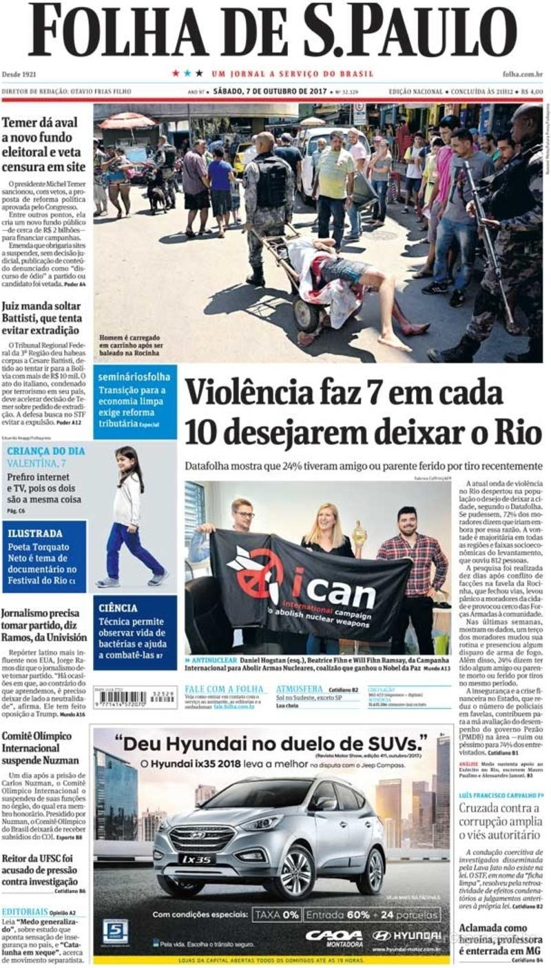 Capa do jornal Folha de S.Paulo 28/10/2017