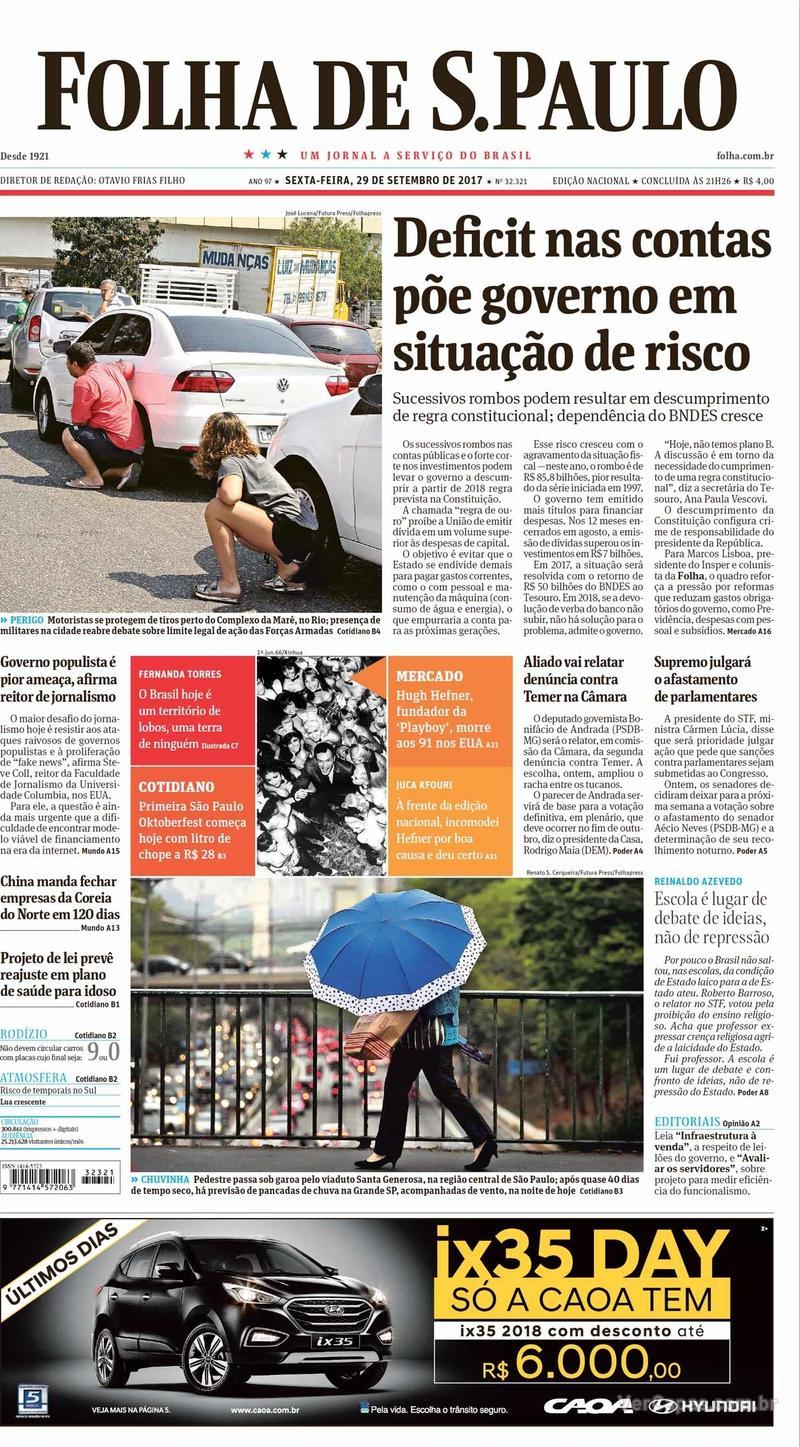 Capa do jornal Folha de S.Paulo 29/09/2017