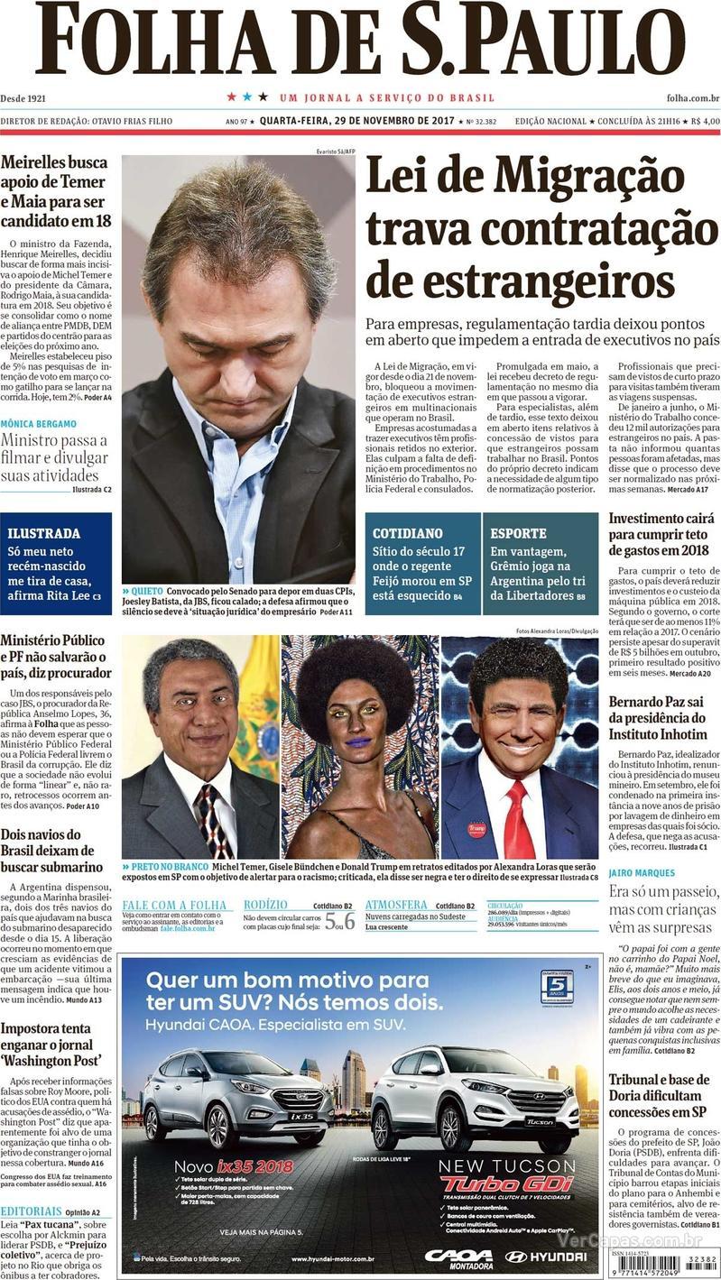 Capa do jornal Folha de S.Paulo 29/11/2017