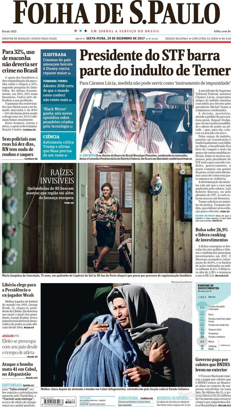 Capa do jornal Folha de S.Paulo 29/12/2017
