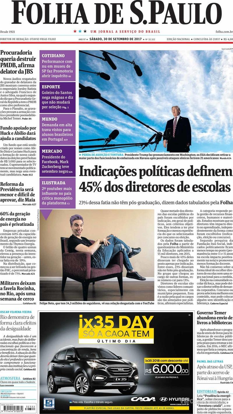 Capa do jornal Folha de S.Paulo 30/09/2017