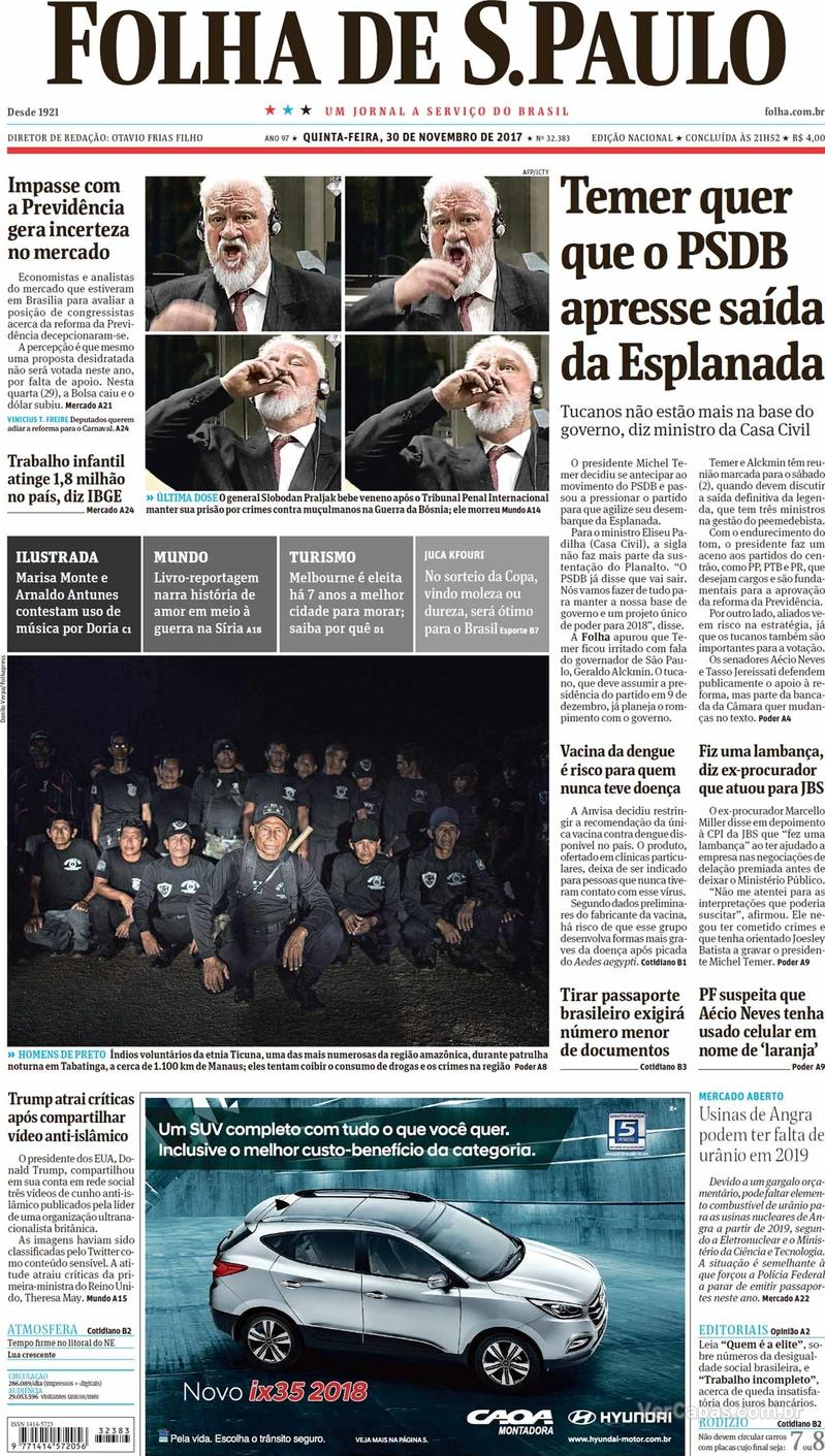 Capa do jornal Folha de S.Paulo 30/11/2017