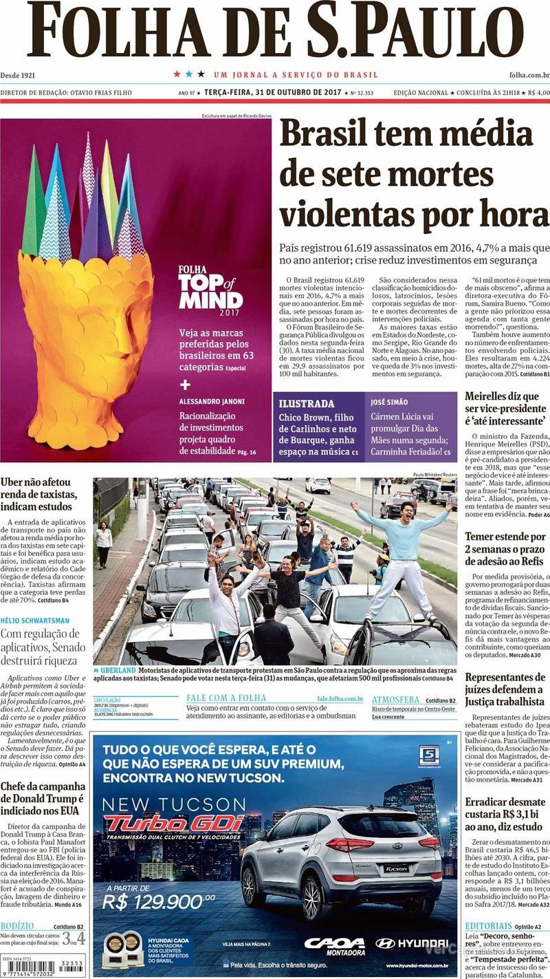 Capa do jornal Folha de S.Paulo 31/10/2017