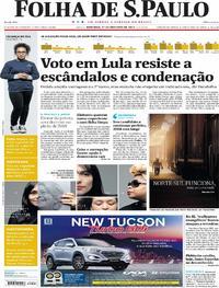 Capa do jornal Folha de S.Paulo 01/10/2017