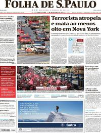 Capa do jornal Folha de S.Paulo 01/11/2017