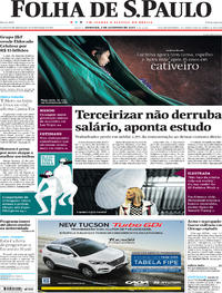 Capa do jornal Folha de S.Paulo 03/09/2017