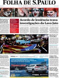 Capa do jornal Folha de S.Paulo 03/11/2017