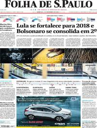 Capa do jornal Folha de S.Paulo 03/12/2017