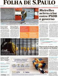 Capa do jornal Folha de S.Paulo 05/12/2017