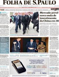 Capa do jornal Folha de S.Paulo 07/11/2017