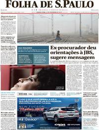 Capa do jornal Folha de S.Paulo 08/11/2017