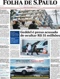 Capa do jornal Folha de S.Paulo 09/09/2017
