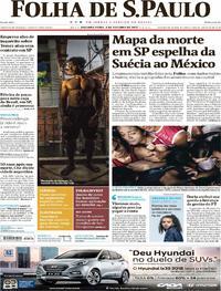 Capa do jornal Folha de S.Paulo 09/10/2017