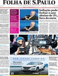 Capa do jornal Folha de S.Paulo 09/12/2017
