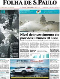 Capa do jornal Folha de S.Paulo 10/09/2017