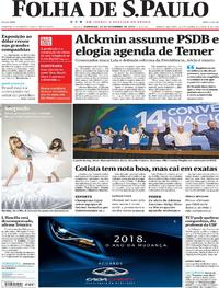 Capa do jornal Folha de S.Paulo 10/12/2017