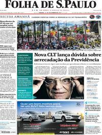 Capa do jornal Folha de S.Paulo 11/11/2017