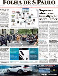 Capa do jornal Folha de S.Paulo 13/09/2017