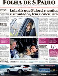 Capa do jornal Folha de S.Paulo 14/09/2017