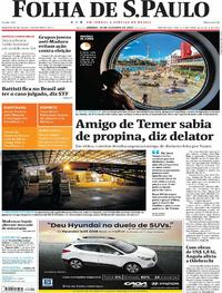 Capa do jornal Folha de S.Paulo 14/10/2017