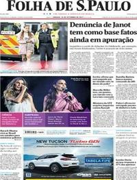 Capa do jornal Folha de S.Paulo 16/09/2017