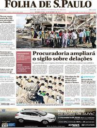 Capa do jornal Folha de S.Paulo 16/10/2017